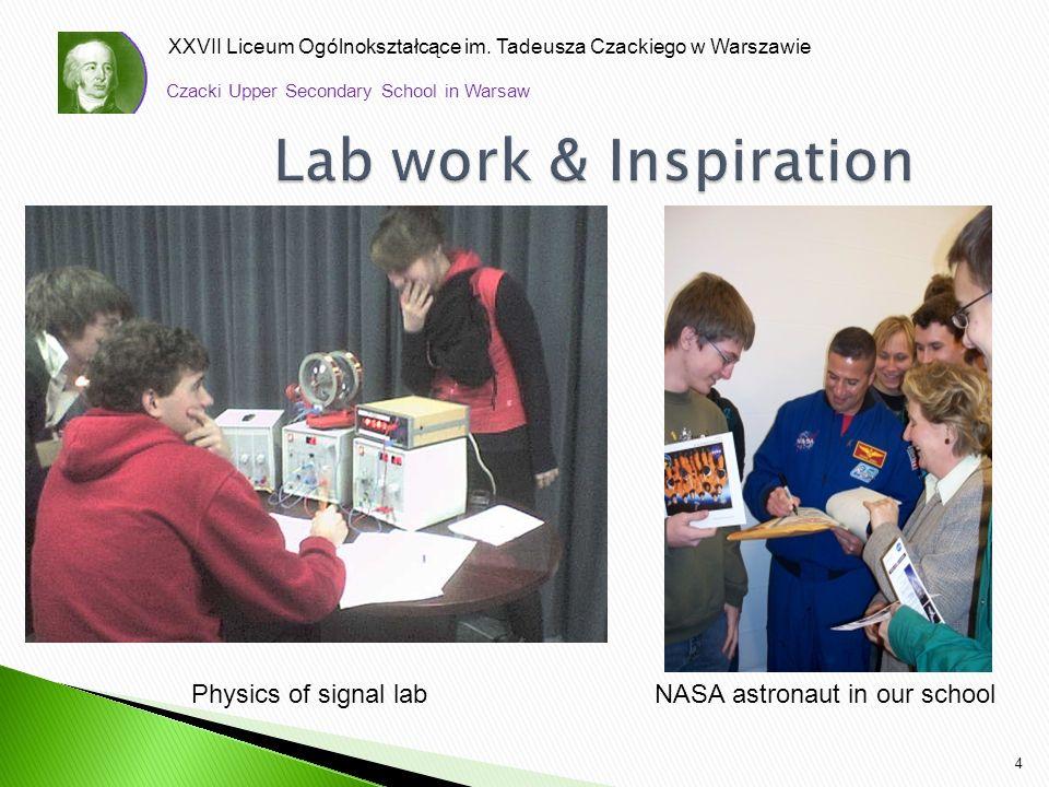 XXVII Liceum Ogólnokształcące im. Tadeusza Czackiego w Warszawie 4 Czacki Upper Secondary School in Warsaw Physics of signal lab NASA astronaut in our