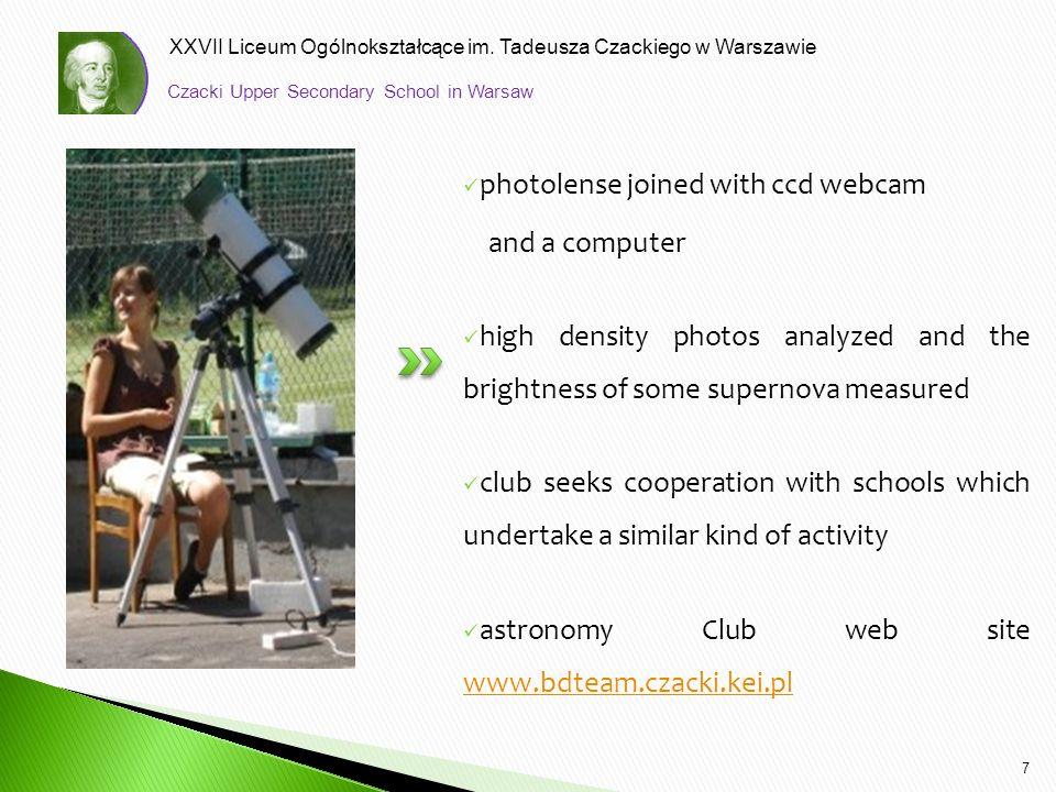 XXVII Liceum Ogólnokształcące im. Tadeusza Czackiego w Warszawie photolense joined with ccd webcam and a computer high density photos analyzed and the