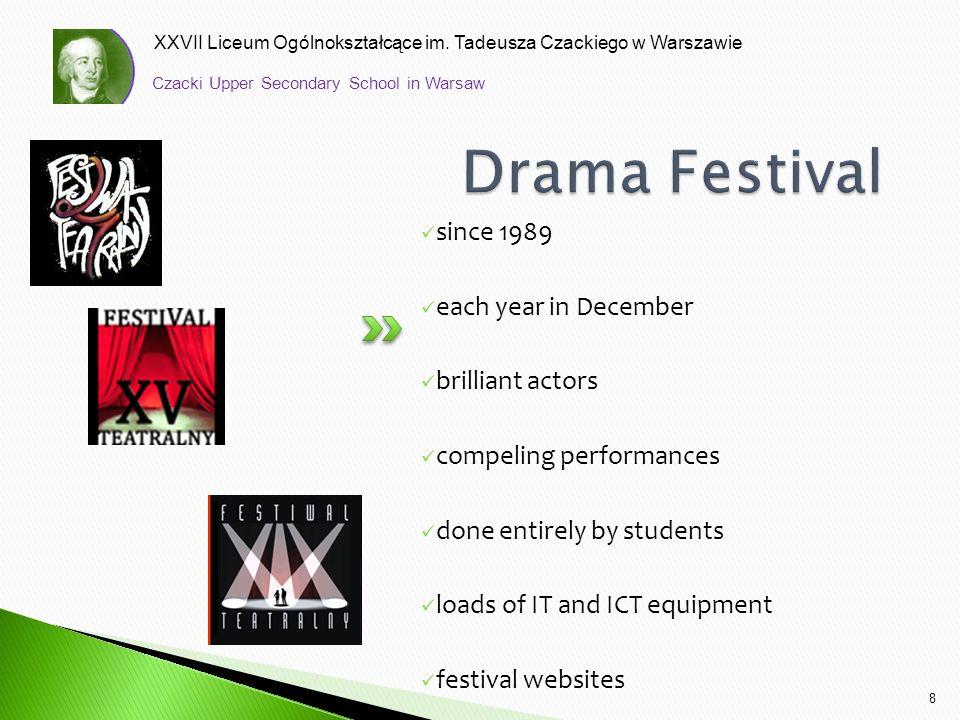 XXVII Liceum Ogólnokształcące im. Tadeusza Czackiego w Warszawie since 1989 each year in December brilliant actors compeling performances done entirel
