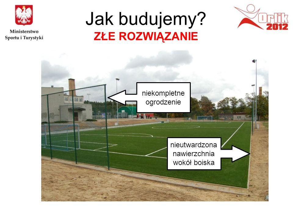 nieutwardzona nawierzchnia wokół boiska niekompletne ogrodzenie Jak budujemy? ZŁE ROZWIĄZANIE