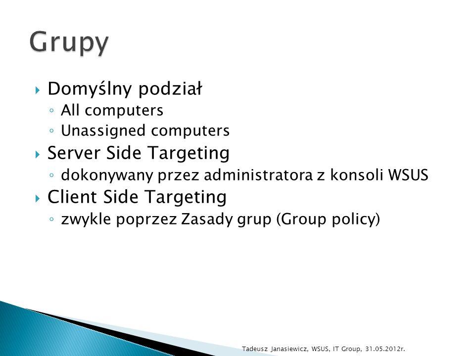 Domyślny podział All computers Unassigned computers Server Side Targeting dokonywany przez administratora z konsoli WSUS Client Side Targeting zwykle poprzez Zasady grup (Group policy) Tadeusz Janasiewicz, WSUS, IT Group, 31.05.2012r.