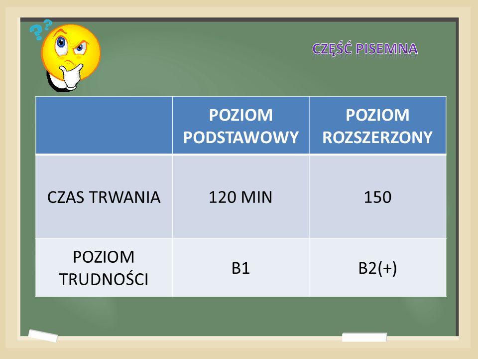 POZIOM PODSTAWOWY POZIOM ROZSZERZONY CZAS TRWANIA120 MIN150 POZIOM TRUDNOŚCI B1B2(+)
