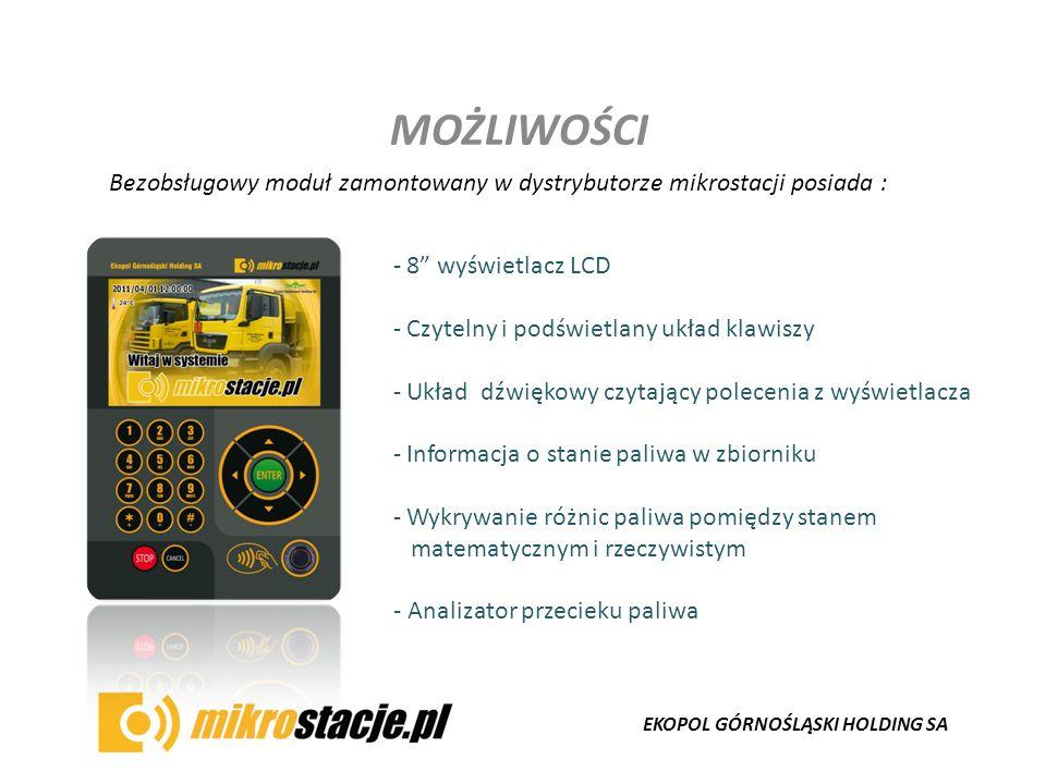 EKOPOL GÓRNOŚLĄSKI HOLDING SA MOŻLIWOŚCI Bezobsługowy moduł zamontowany w dystrybutorze mikrostacji posiada : - 8 wyświetlacz LCD - Czytelny i podświe