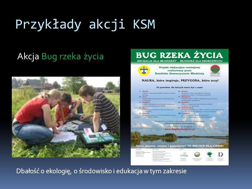 Przykłady akcji KSM Akcja Bug rzeka życia Dbałość o ekologię, o środowisko i edukacja w tym zakresie