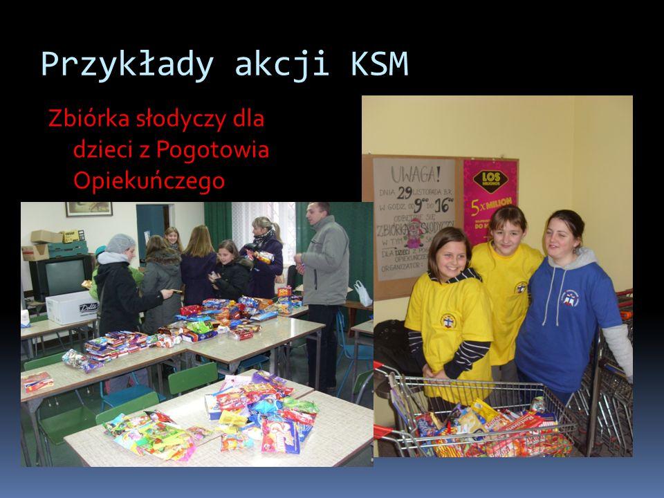 Przykłady akcji KSM Zbiórka słodyczy dla dzieci z Pogotowia Opiekuńczego
