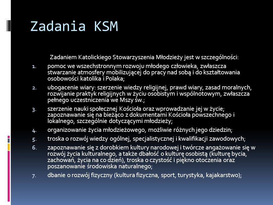 Zadania KSM Zadaniem Katolickiego Stowarzyszenia Młodzieży jest w szczególności: 1.