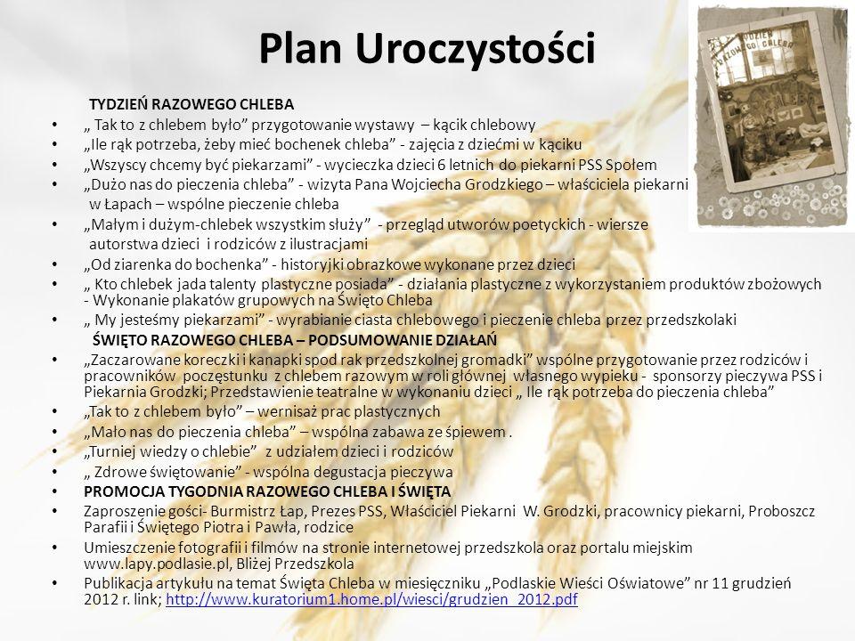 Plan Uroczystości TYDZIEŃ RAZOWEGO CHLEBA Tak to z chlebem było przygotowanie wystawy – kącik chlebowy Ile rąk potrzeba, żeby mieć bochenek chleba - z