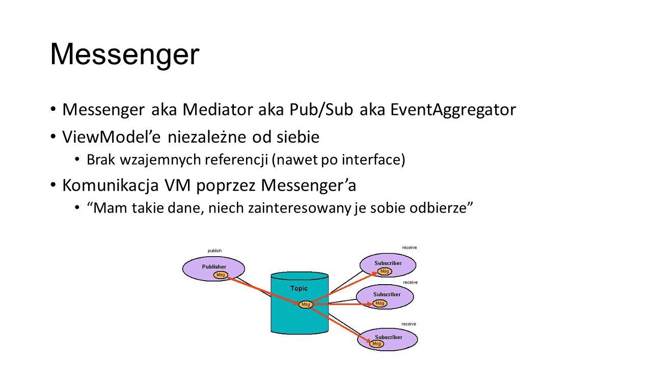 Messenger Messenger aka Mediator aka Pub/Sub aka EventAggregator ViewModele niezależne od siebie Brak wzajemnych referencji (nawet po interface) Komun