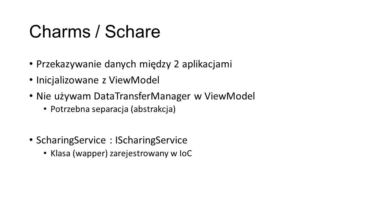 Charms / Schare Przekazywanie danych między 2 aplikacjami Inicjalizowane z ViewModel Nie używam DataTransferManager w ViewModel Potrzebna separacja (a