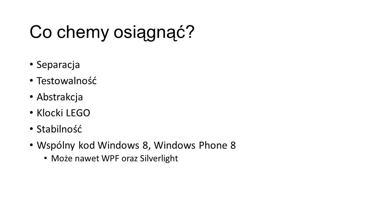 Co chemy osiągnąć? Separacja Testowalność Abstrakcja Klocki LEGO Stabilność Wspólny kod Windows 8, Windows Phone 8 Może nawet WPF oraz Silverlight