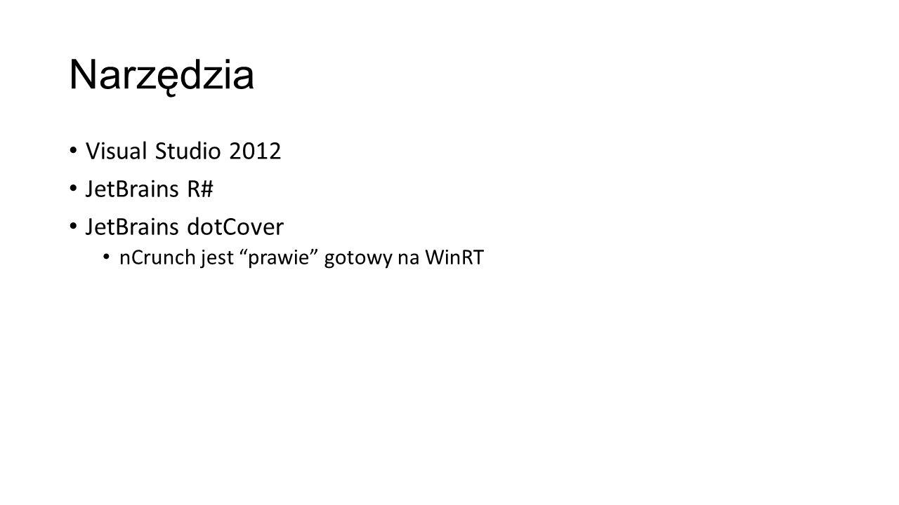 Narzędzia Visual Studio 2012 JetBrains R# JetBrains dotCover nCrunch jest prawie gotowy na WinRT