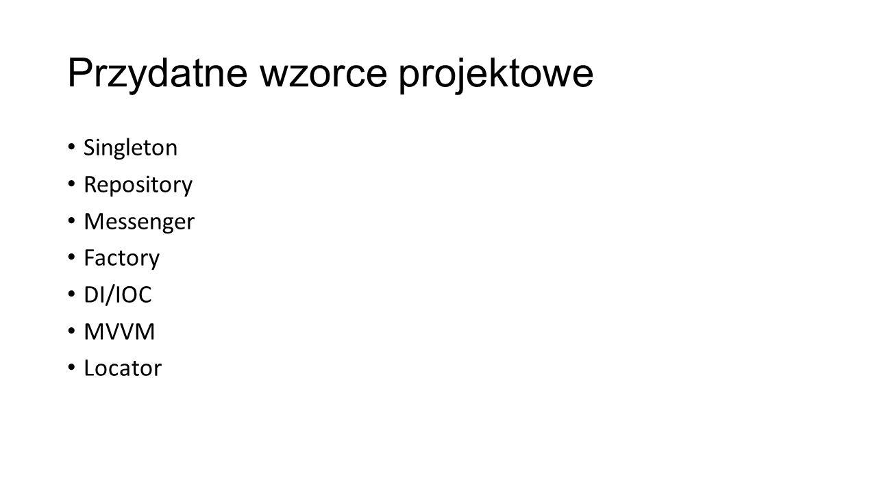 Foo : IFoo Każda klasa implementuje interface AboutView : IAboutView MainViewModel : IMainViewModel MyRepository : IMyRepository DialogService : IDialogService Itd…