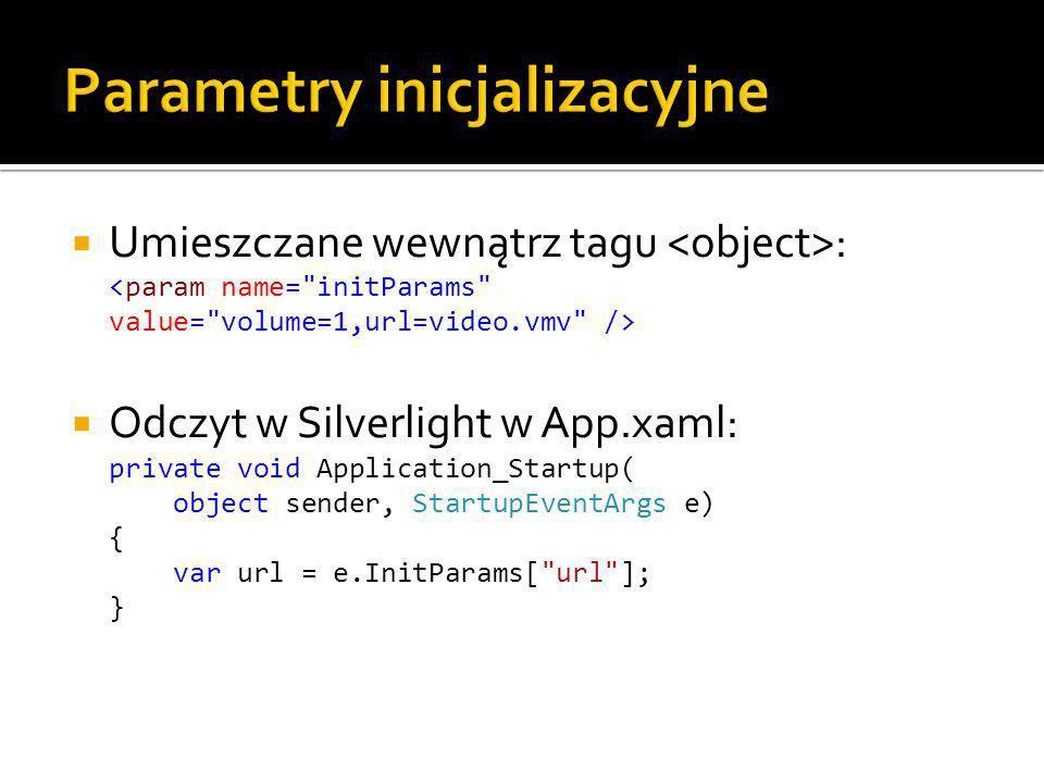 Umieszczane wewnątrz tagu : Odczyt w Silverlight w App.xaml: private void Application_Startup( object sender, StartupEventArgs e) { var url = e.InitParams[ url ]; }