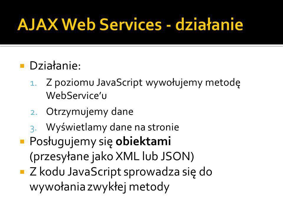 Działanie: 1. Z poziomu JavaScript wywołujemy metodę WebServiceu 2.