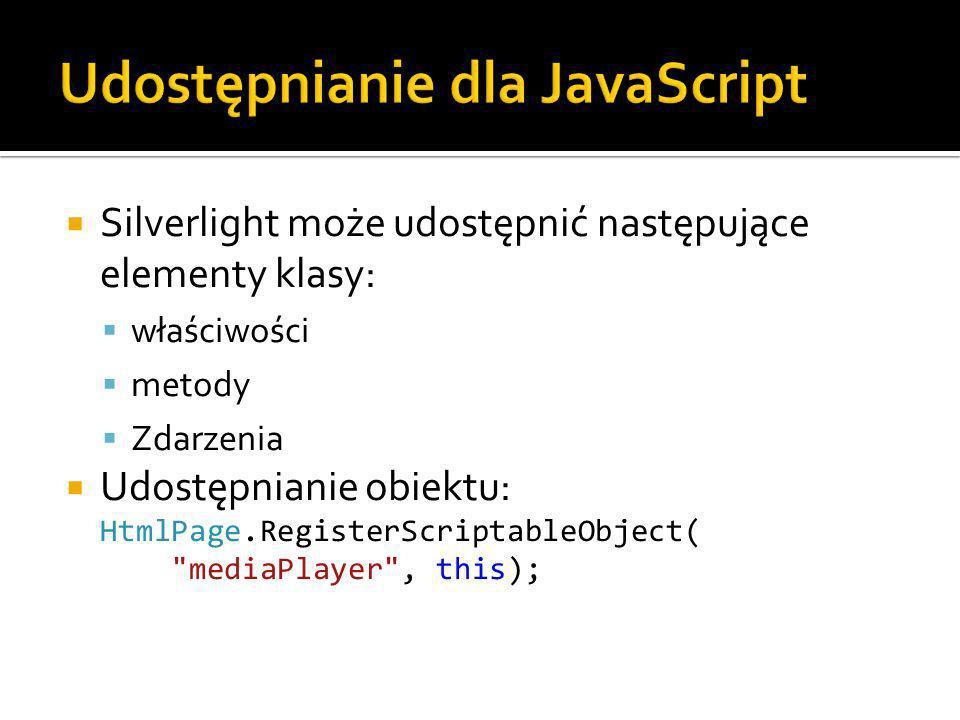 Silverlight może udostępnić następujące elementy klasy: właściwości metody Zdarzenia Udostępnianie obiektu: HtmlPage.RegisterScriptableObject( mediaPlayer , this);