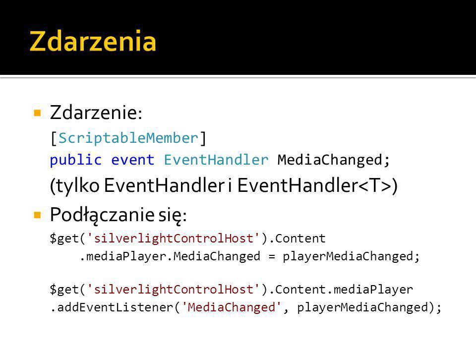 Zdarzenie: [ScriptableMember] public event EventHandler MediaChanged; (tylko EventHandler i EventHandler ) Podłączanie się: $get( silverlightControlHost ).Content.mediaPlayer.MediaChanged = playerMediaChanged; $get( silverlightControlHost ).Content.mediaPlayer.addEventListener( MediaChanged , playerMediaChanged);