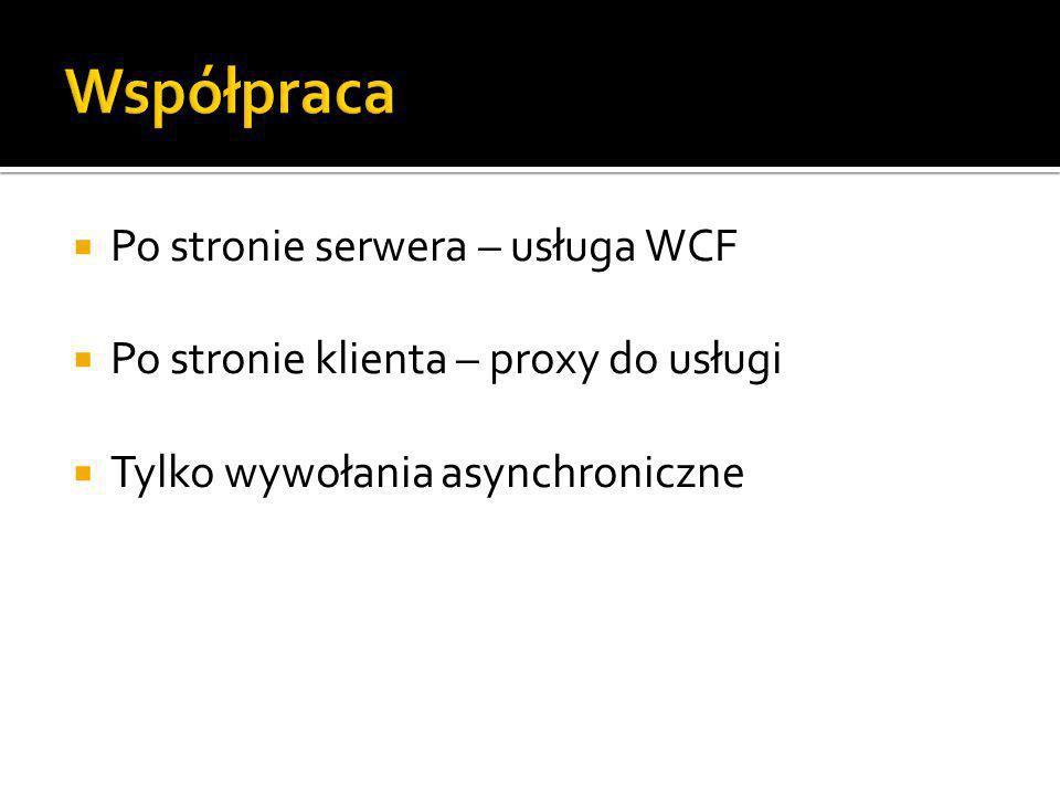 Po stronie serwera – usługa WCF Po stronie klienta – proxy do usługi Tylko wywołania asynchroniczne