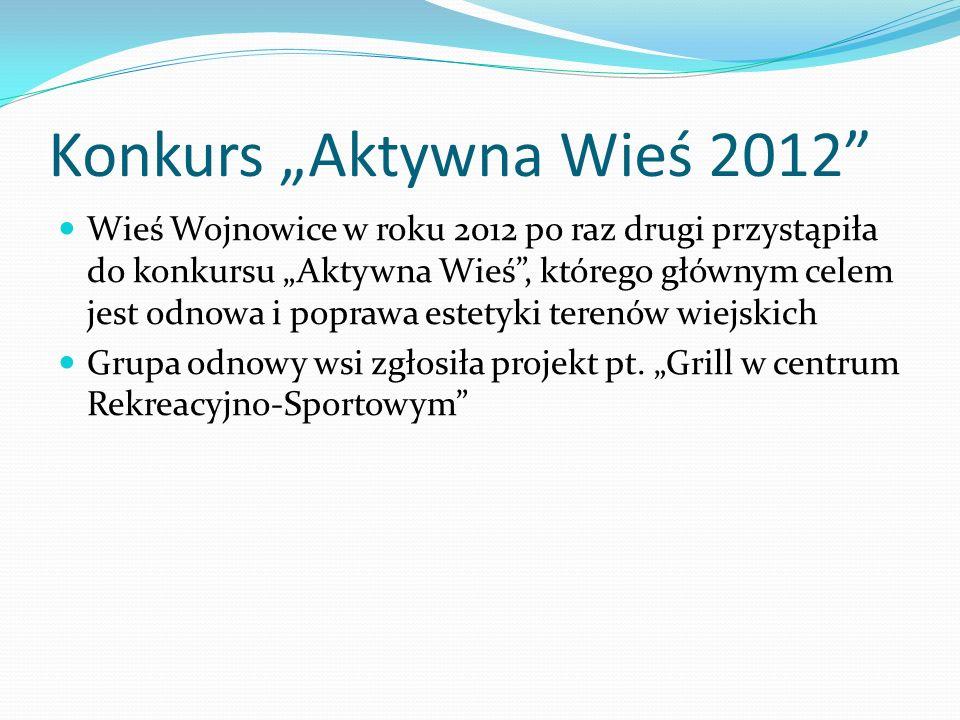 Konkurs Aktywna Wieś 2012 Wieś Wojnowice w roku 2012 po raz drugi przystąpiła do konkursu Aktywna Wieś, którego głównym celem jest odnowa i poprawa estetyki terenów wiejskich Grupa odnowy wsi zgłosiła projekt pt.