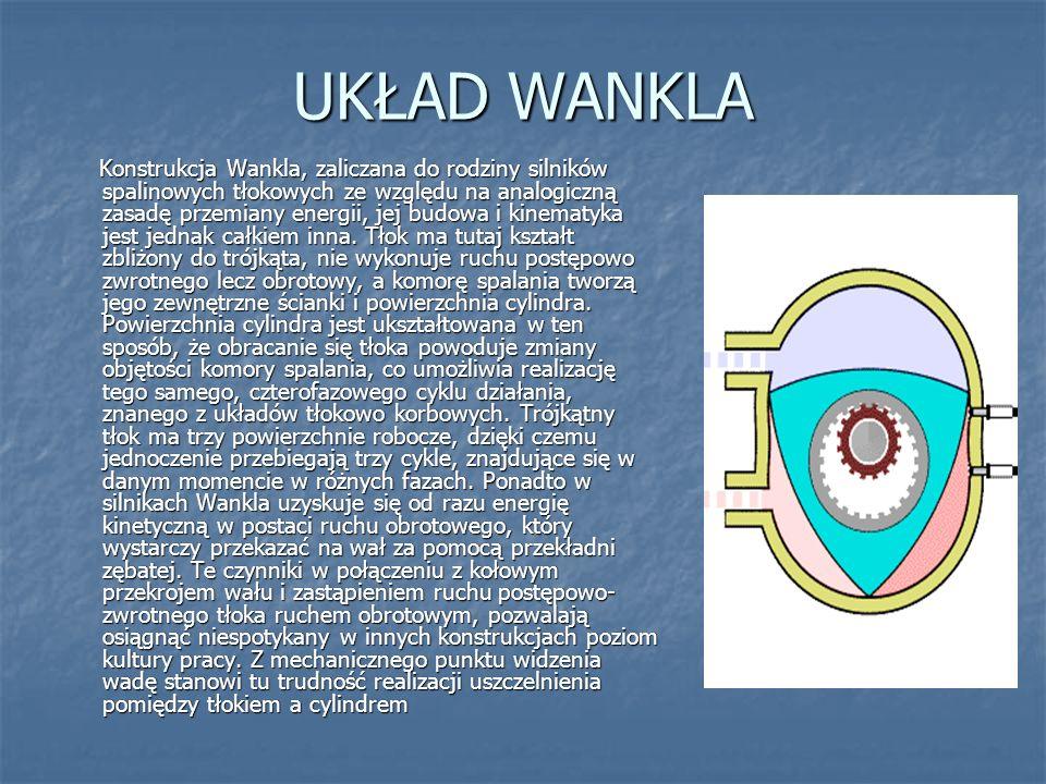 UKŁAD WANKLA Konstrukcja Wankla, zaliczana do rodziny silników spalinowych tłokowych ze względu na analogiczną zasadę przemiany energii, jej budowa i