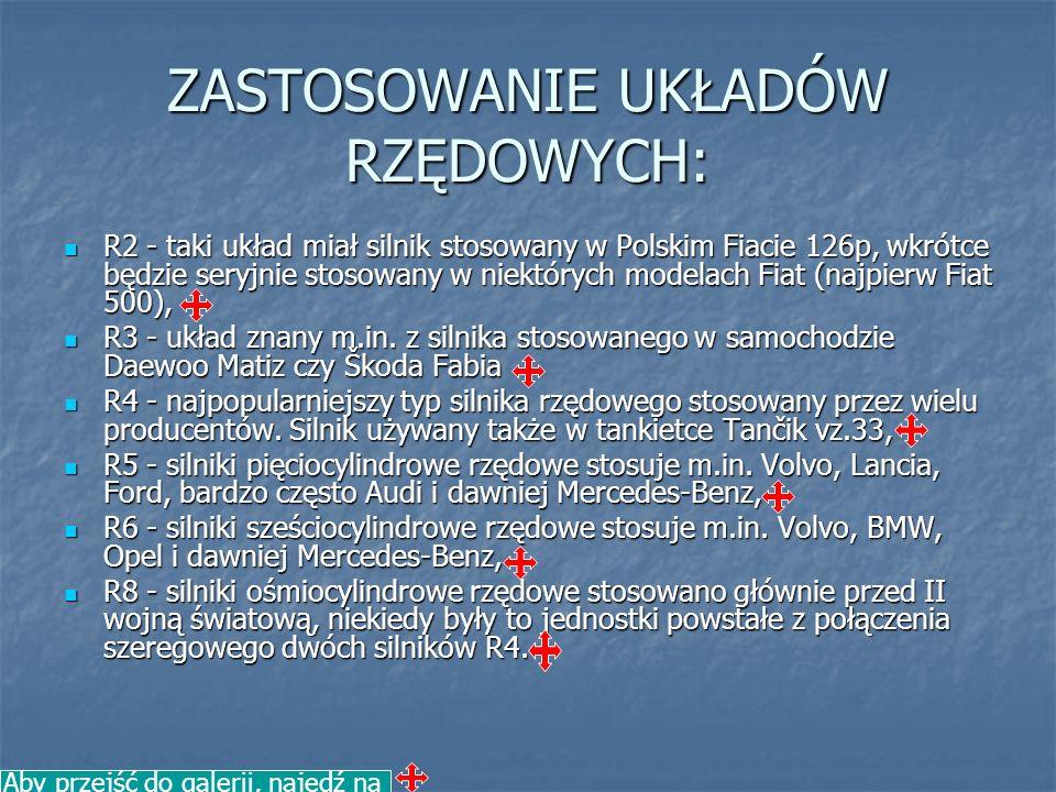 ZASTOSOWANIE UKŁADÓW RZĘDOWYCH: R2 - taki układ miał silnik stosowany w Polskim Fiacie 126p, wkrótce będzie seryjnie stosowany w niektórych modelach F