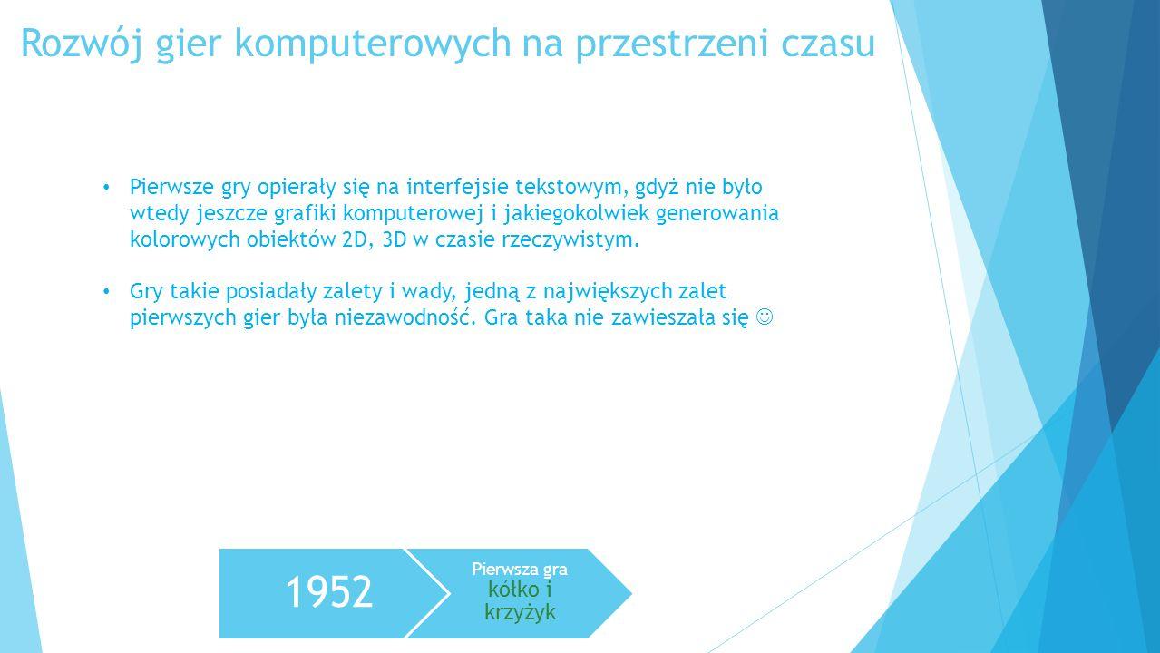 Rozwój gier komputerowych na przestrzeni czasu 1952 Pierwsza gra kółko i krzyżyk Pierwsze gry opierały się na interfejsie tekstowym, gdyż nie było wte