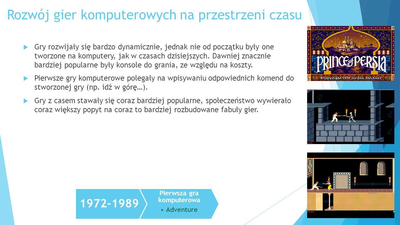 Gry rozwijały się bardzo dynamicznie, jednak nie od początku były one tworzone na komputery, jak w czasach dzisiejszych. Dawniej znacznie bardziej pop