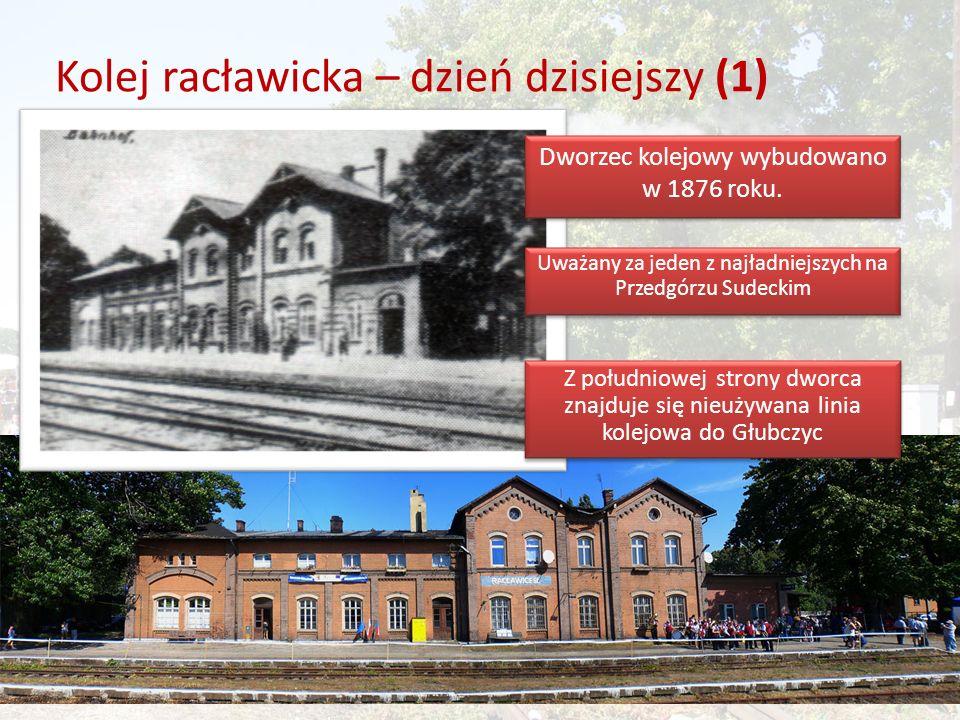 Kolej racławicka – dzień dzisiejszy (1) Dworzec kolejowy wybudowano w 1876 roku.