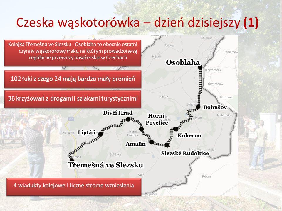 Czeska wąskotorówka – dzień dzisiejszy (1) Kolejka Třemešná ve Slezsku - Osoblaha to obecnie ostatni czynny wąskotorowy trakt, na którym prowadzone są regularne przewozy pasażerskie w Czechach 4 wiadukty kolejowe i liczne strome wzniesienia 102 łuki z czego 24 mają bardzo mały promień 36 krzyżowań z drogami i szlakami turystycznimi