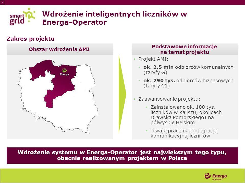 Projekt AMI: ok. 2,5 mln odbiorców komunalnych (taryfy G) ok. 290 tys. odbiorców biznesowych (taryfy C1) Zaawansowanie projektu: Zainstalowano ok. 100