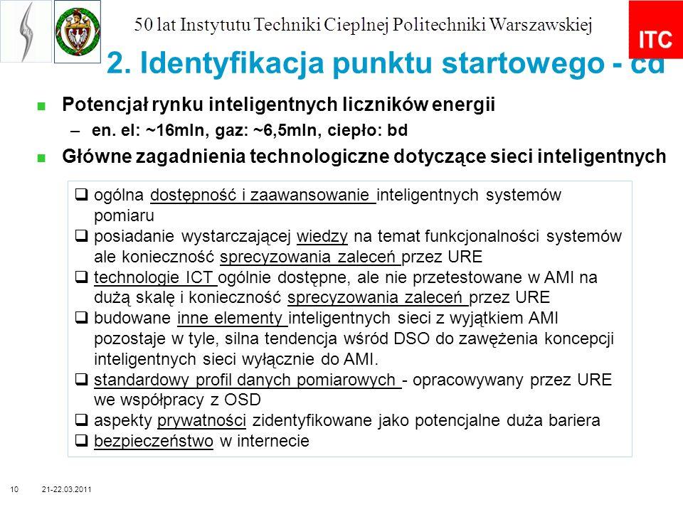 2. Identyfikacja punktu startowego - cd Potencjał rynku inteligentnych liczników energii –en. el: ~16mln, gaz: ~6,5mln, ciepło: bd Główne zagadnienia
