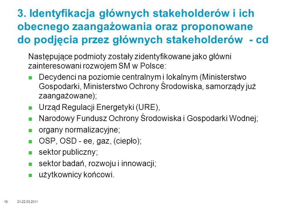 Następujące podmioty zostały zidentyfikowane jako główni zainteresowani rozwojem SM w Polsce: Decydenci na poziomie centralnym i lokalnym (Ministerstw