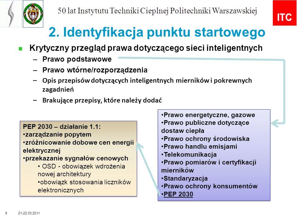 Główne zagadnienia technologiczne dotyczące budowy sieci inteligentnych w Polsce Główne aspekty technologiczneOpis Dostępność, funkcjonalność i zaawansowanie technologii inteligentnych systemów pomiaru Ogólnie dostępne na rynku Różne technologie i typy urządzeń SM używane przez OSD Funkcjonalność systemów pod względem inteligentnego pomiaru Posiadanie wystarczającej wiedzy przez główne zainteresowane strony Konieczność sprecyzowania zaleceń wydanych przez URE Dostępność, funkcjonalność i zaawansowanie technologii ICT wykorzystywanych w SG (SM) Ogólnie dostępne, ale nie przetestowane w SG na dużą skalę Konieczność sprecyzowania zaleceń wydanych przez URE Przyjęcie modelu rynku opomiarowania Prawdopodobieństwo wyboru modelu mieszanego (regulowano- wolnorynkowego) Postrzeganie inteligentnych systemów pomiaru jako element rozwoju inteligentnego systemu elektroenergetycznego Budowane inne elementy inteligentnych sieci z wyjątkiem SG pozostaje w tyle Silna tendencja wśród DSO do zawężenia koncepcji SG wyłącznie do SM Standardowy profil danych pomiarowychOpracowywany przez URE we współpracy z OSD Aspekty prywatności i bezpieczeństwa danych osobowych Zidentyfikowane jako potencjalne duża bariera, decyzje podejmowane przez Generalnego Inspektora Ochrony Danych Osobowych WspółdziałanieKonieczność przyjęcia RM SG Bezpieczeństwo w cyberprzestrzeniProblem rozpoznawany przez sektor energetyczny i telekomunikacyjny Nowelizacja ustawy z elementami bezpieczeństwa w cyberprzestrzeni