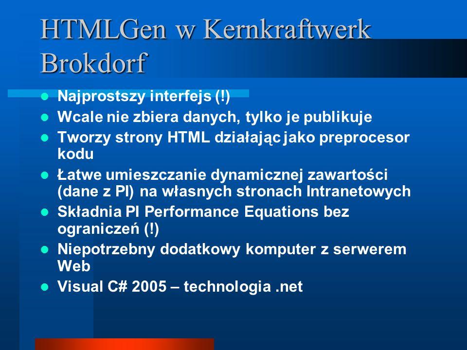 HTMLGen w Kernkraftwerk Brokdorf Najprostszy interfejs (!) Wcale nie zbiera danych, tylko je publikuje Tworzy strony HTML działając jako preprocesor kodu Łatwe umieszczanie dynamicznej zawartości (dane z PI) na własnych stronach Intranetowych Składnia PI Performance Equations bez ograniczeń (!) Niepotrzebny dodatkowy komputer z serwerem Web Visual C# 2005 – technologia.net