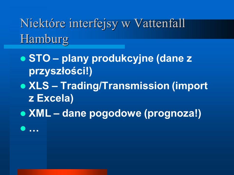 Niektóre interfejsy w Vattenfall Hamburg STO – plany produkcyjne (dane z przyszłości!) XLS – Trading/Transmission (import z Excela) XML – dane pogodowe (prognoza!) …