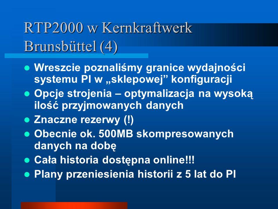 RTP2000 w Kernkraftwerk Brunsbüttel (4) Wreszcie poznaliśmy granice wydajności systemu PI w sklepowej konfiguracji Opcje strojenia – optymalizacja na wysoką ilość przyjmowanych danych Znaczne rezerwy (!) Obecnie ok.