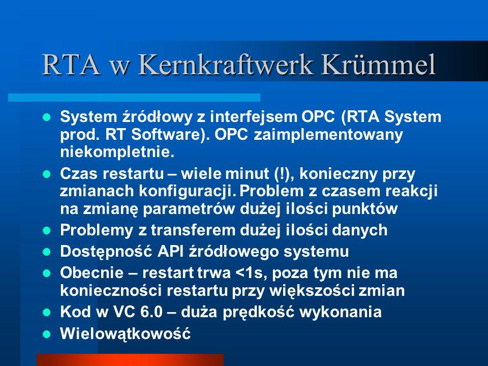 RTA w Kernkraftwerk Krümmel System źródłowy z interfejsem OPC (RTA System prod.
