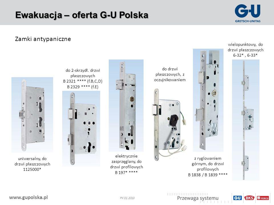 www.gupolska.pl PK 01.2013 Ewakuacja – oferta G-U Polska Zamki antypaniczne uniwersalny, do drzwi płaszczowych 1125000* do 2-skrzydł. drzwi płaszczowy