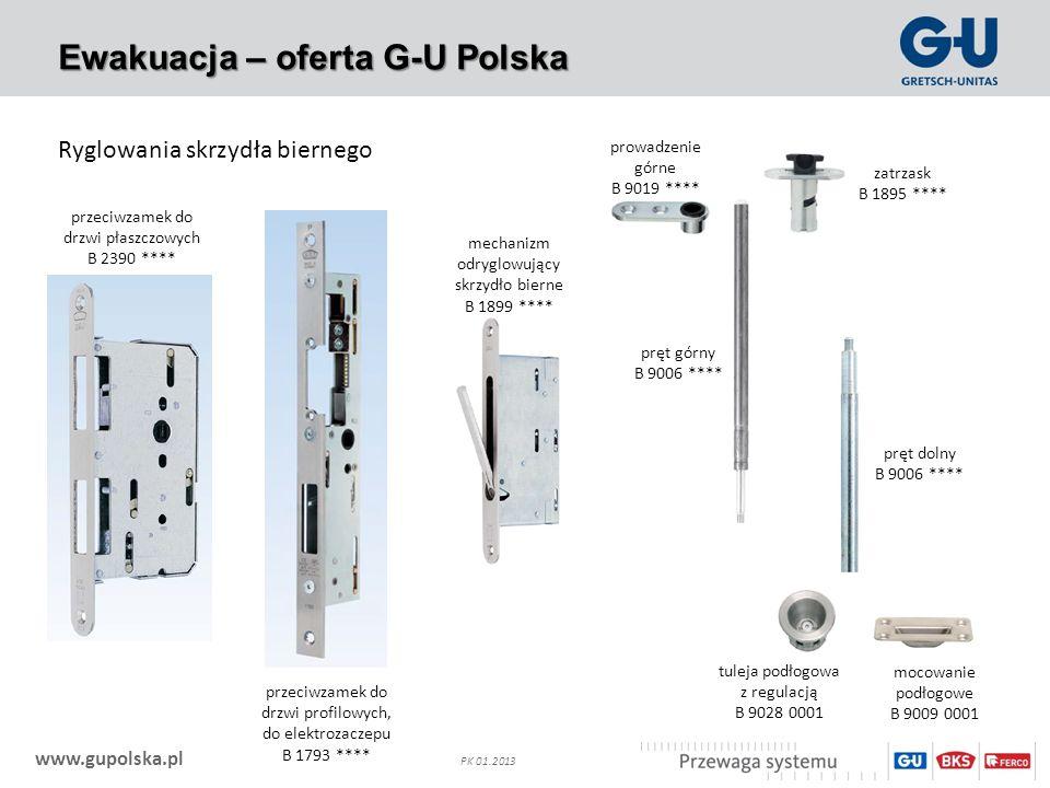 www.gupolska.pl PK 01.2013 Ewakuacja – oferta G-U Polska Ryglowania skrzydła biernego przeciwzamek do drzwi płaszczowych B 2390 **** przeciwzamek do d