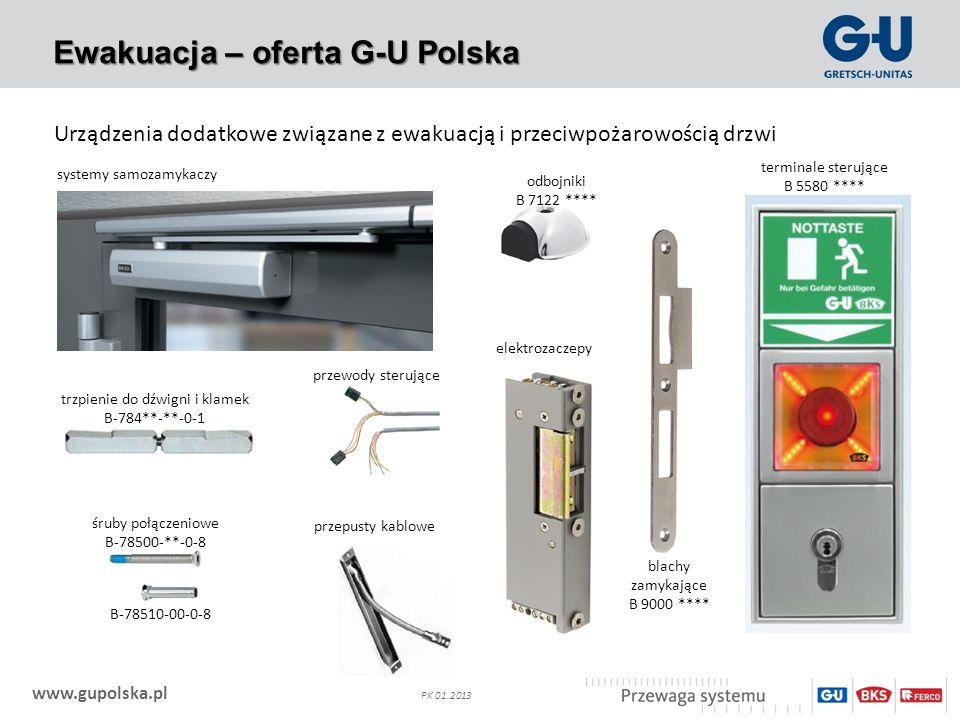 www.gupolska.pl PK 01.2013 Ewakuacja – oferta G-U Polska Urządzenia dodatkowe związane z ewakuacją i przeciwpożarowością drzwi systemy samozamykaczy o