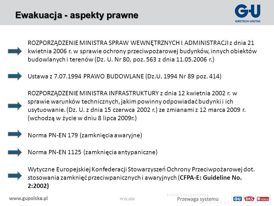 www.gupolska.pl PK 01.2013 Ewakuacja - aspekty prawne ROZPORZĄDZENIE MINISTRA SPRAW WEWNĘTRZNYCH I ADMINISTRACJI z dnia 21 kwietnia 2006 r. w sprawie