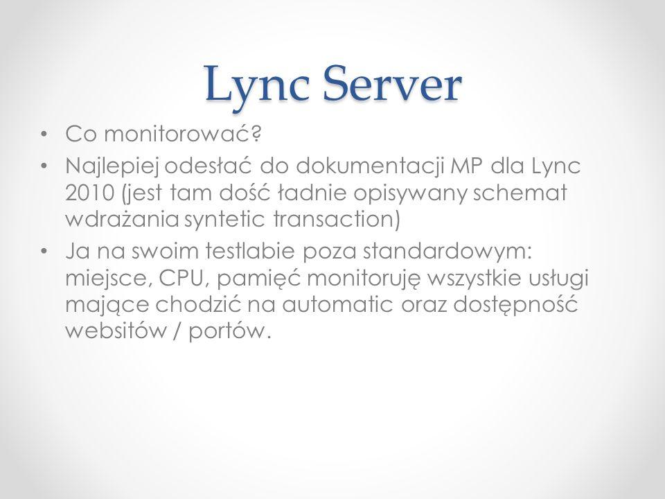 Lync Server Co monitorować.