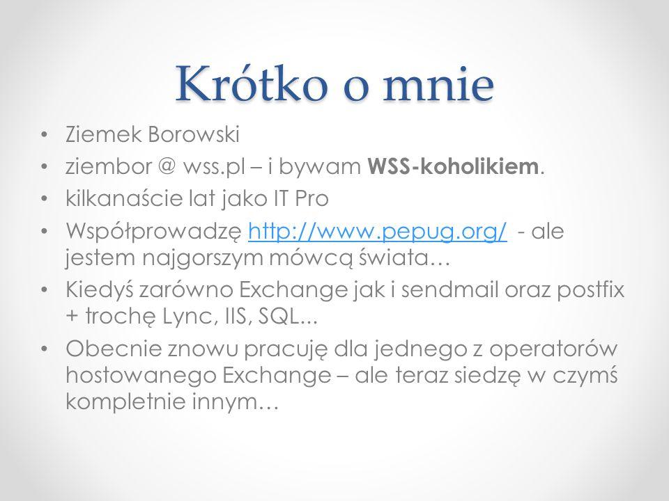 Krótko o mnie Ziemek Borowski ziembor @ wss.pl – i bywam WSS-koholikiem.