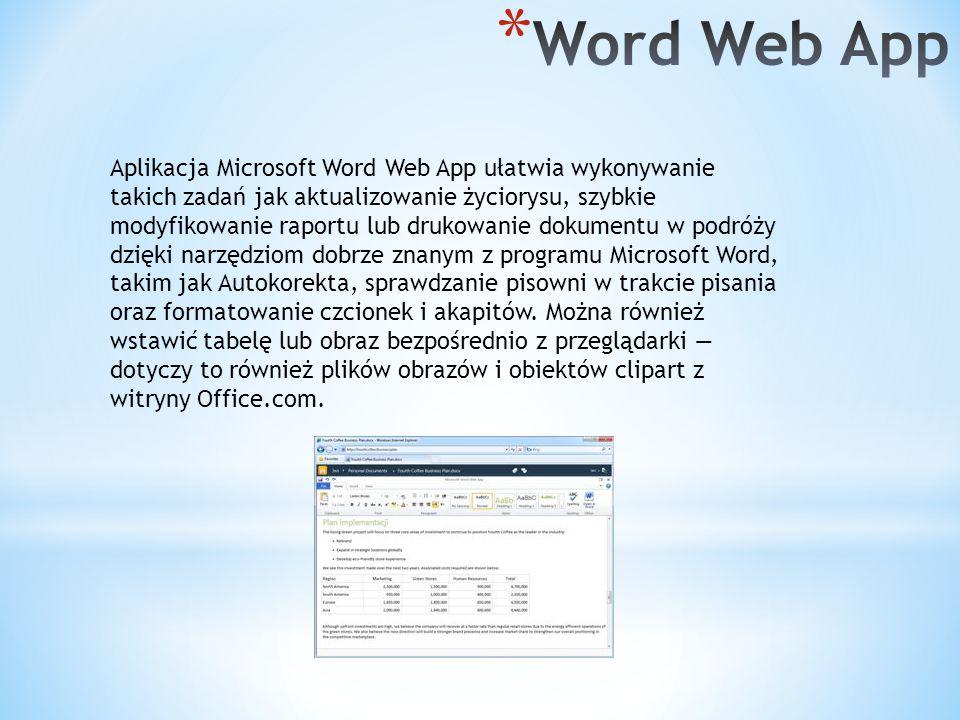 Aplikacja Microsoft Word Web App ułatwia wykonywanie takich zadań jak aktualizowanie życiorysu, szybkie modyfikowanie raportu lub drukowanie dokumentu w podróży dzięki narzędziom dobrze znanym z programu Microsoft Word, takim jak Autokorekta, sprawdzanie pisowni w trakcie pisania oraz formatowanie czcionek i akapitów.