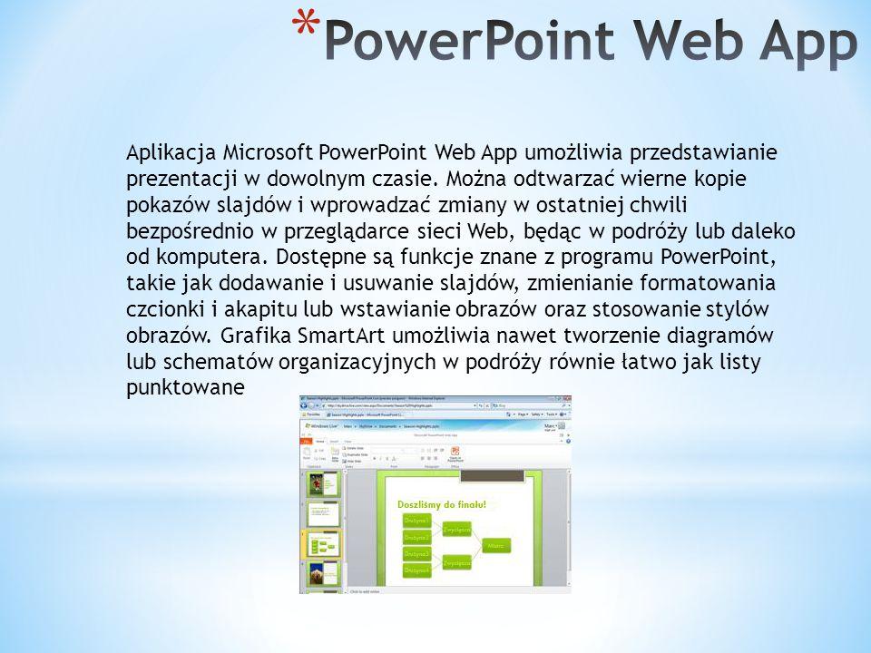 Aplikacja Microsoft PowerPoint Web App umożliwia przedstawianie prezentacji w dowolnym czasie.
