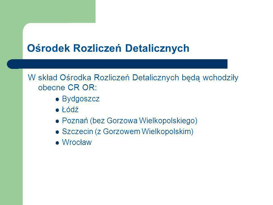 Ośrodek Rozliczeń Detalicznych W skład Ośrodka Rozliczeń Detalicznych będą wchodziły obecne CR OR: Bydgoszcz Łódź Poznań (bez Gorzowa Wielkopolskiego) Szczecin (z Gorzowem Wielkopolskim) Wrocław