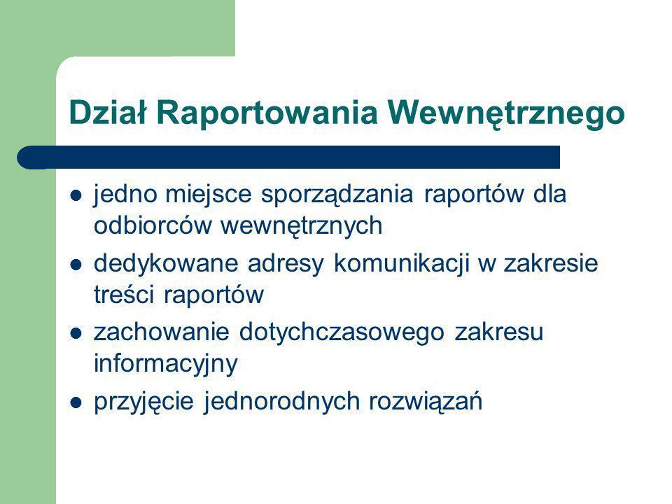 Dział Raportowania Wewnętrznego jedno miejsce sporządzania raportów dla odbiorców wewnętrznych dedykowane adresy komunikacji w zakresie treści raportów zachowanie dotychczasowego zakresu informacyjny przyjęcie jednorodnych rozwiązań