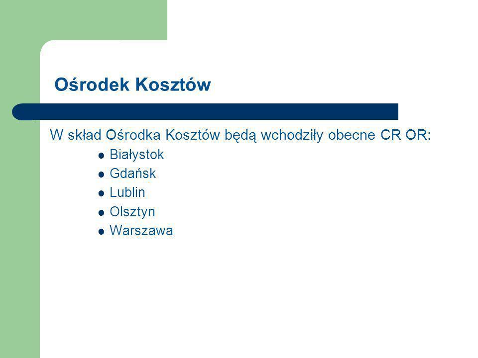 Ośrodek Kosztów W skład Ośrodka Kosztów będą wchodziły obecne CR OR: Białystok Gdańsk Lublin Olsztyn Warszawa