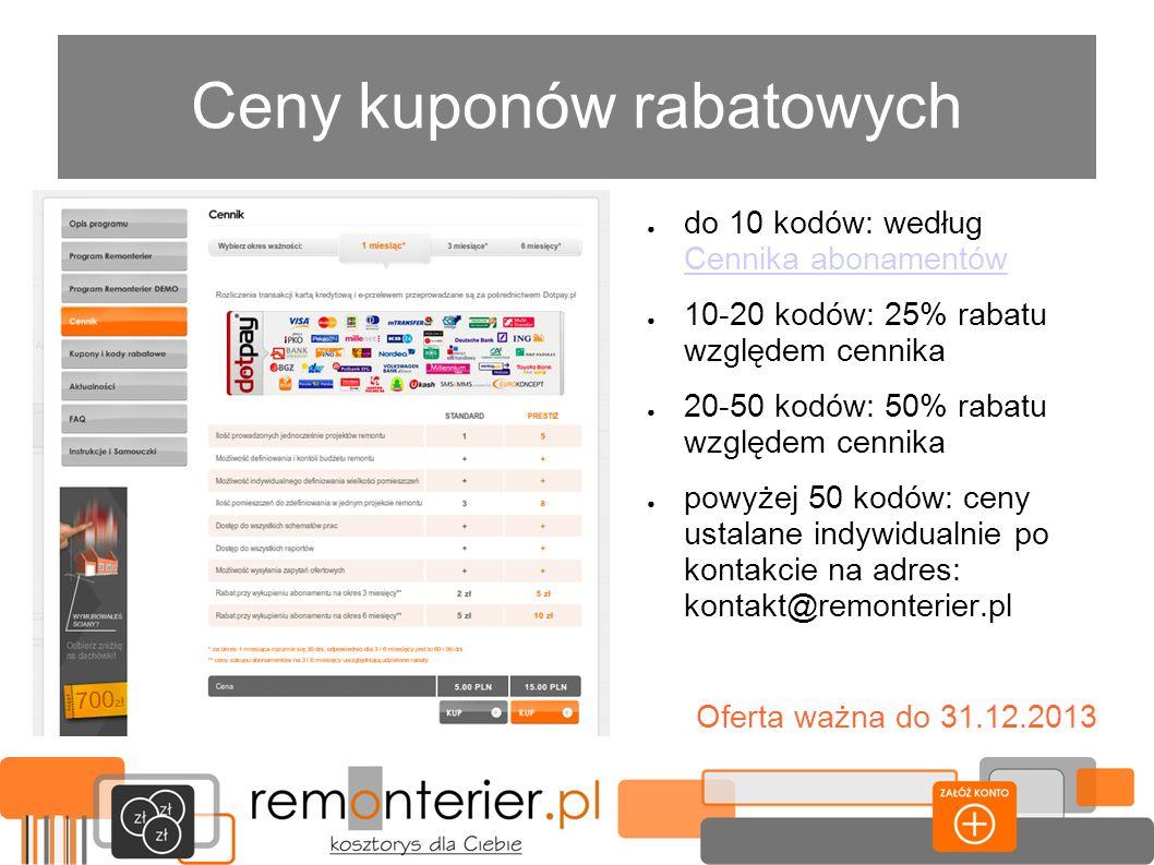 Wsparcie graficzne Do kuponów rabatowych w formie papierowej lub cyfrowej oferujemy wsparcie graficzne w postaci banerów na strony internetowe, utrzymanych w stylistyce remonterier.pl o dowolnie uzgodnionej treści i formacie.