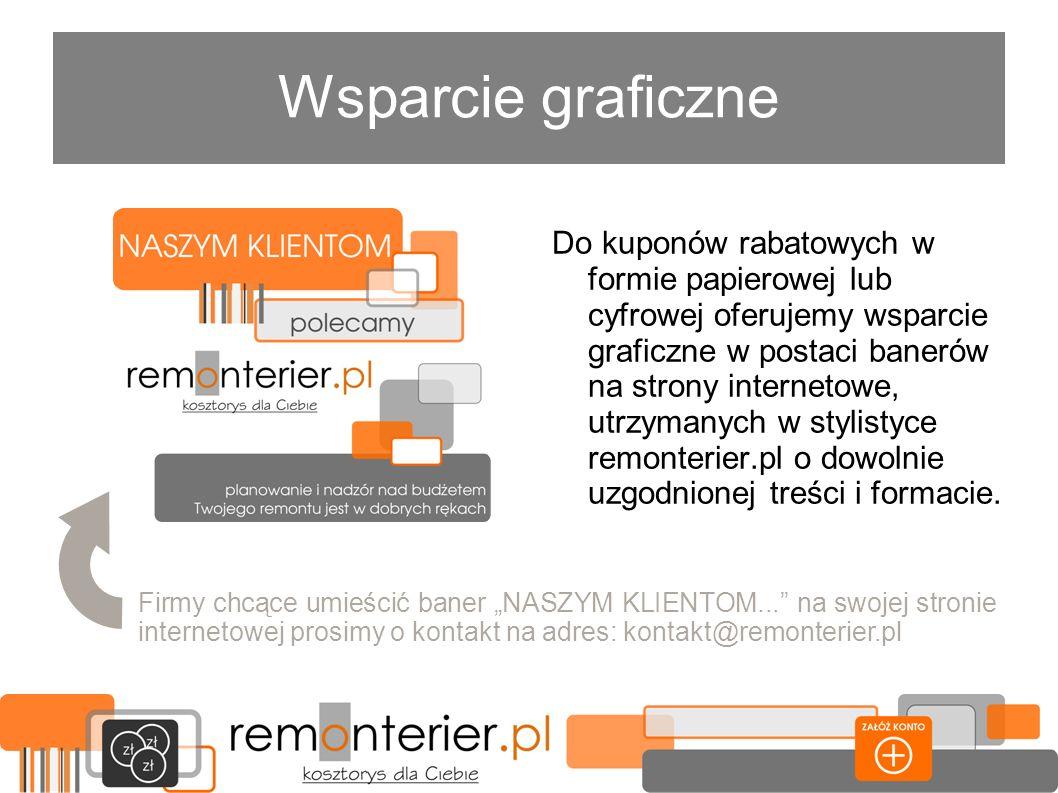 Wsparcie graficzne Do kuponów rabatowych w formie papierowej lub cyfrowej oferujemy wsparcie graficzne w postaci banerów na strony internetowe, utrzym