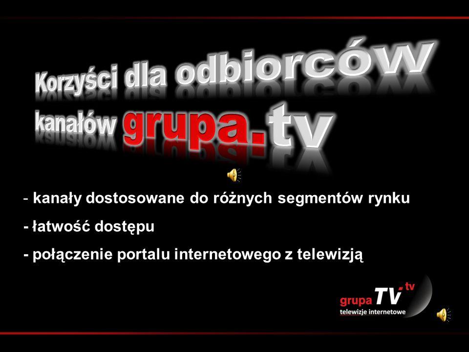 - kanały dostosowane do różnych segmentów rynku - łatwość dostępu - połączenie portalu internetowego z telewizją